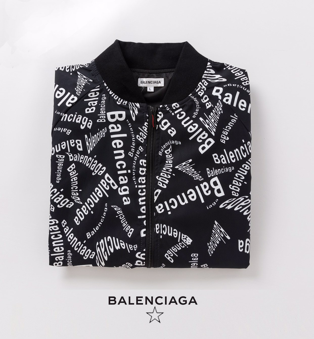 2020 Balenciaga Allover Logo Zip Up Bomber Jackets For Men in 229205, cheap Balenciaga Jackets, only $45!